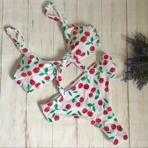 Cherry High Rise Cheeky Knotted Bikini Set L NEW